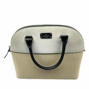 "Kate Spade Grove Street Carli Satchel Straw Leather Bag Black White 12"" x 10"""
